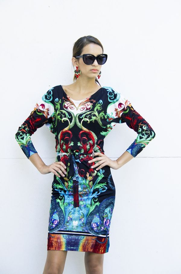 Roberto Cavalli print dress available at Splash By The Beach , Limasol,  photography by Filep Motwary  0784